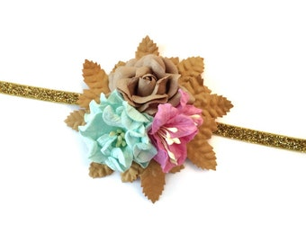 Baby/Child/Newborn/Girl's Floral Headband, Baby Girl Millinery Flower Headband, Floral Halo Headband