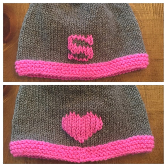 Double-sided Letter & Heart Hat for Baby/Child - hand knit in merino wool