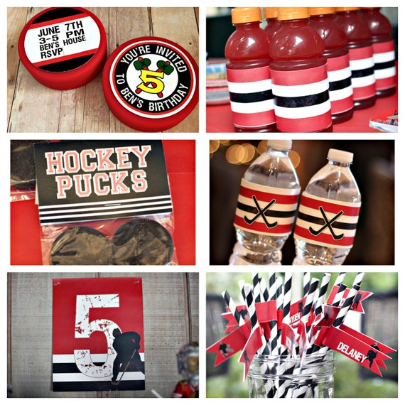 Boy hockey birthday party decorations 6 piece birthday for Decor 6 piece lunchbox