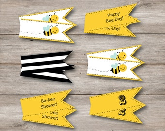 Bumble Bee Straw Flags with Editable Text, Printable Bumblebee Straw Flags with Editable Text to Print at Home, Bumblebee Printable Tags