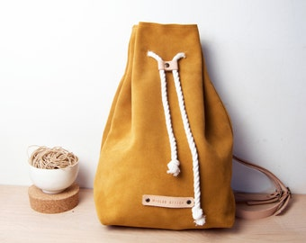 Leather backpack, mustard color