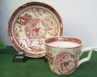 Antique 1880's Staffordshire LITTLE MAE with Dog Cup and Saucer – Childs Tea Set – Allerton's – Red Burgundy Transferware – England – #2/2 -