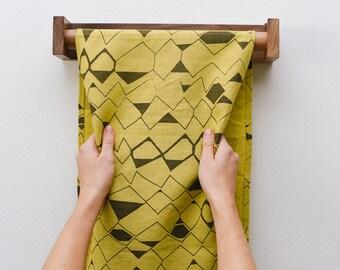 100% Linen Roller Towel - Geometric Pattern - Grey andMustard - Maple Holder