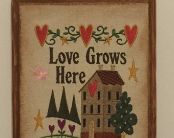Love Grows Here Embroidery Wood Plaque