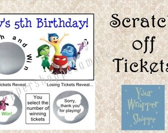 Inside Out Inspired Birthday Party Game Scratch off Tickets Game Personalized Favors Custom Supplies