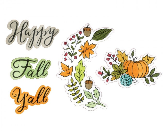 New! Sizzix Framelits Die Set 5PK w/Stamps - Happy Fall Y'all by Jen Long 661630
