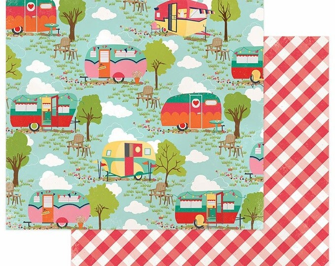 1 Sheets of Photo Play Paper HAPPY GLAMPER 12x12 Scrapbook Cardstock - Happy Glamper (Camping Theme) HG2247