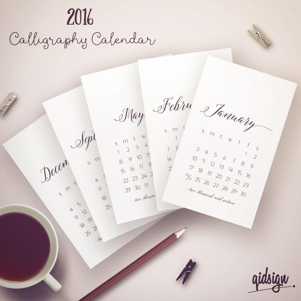 Typography Calendar Uk : Typography calendar calligraphy by