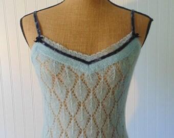 1990's Victorias Secret Camisole Cami Size XS Small Knit Camisole Light Blue Cami