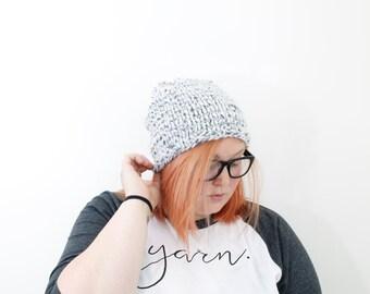 Chunky Knit Hat, Unisex Beanie, Knit Slouchy Beanie, Snowbank, The ANTIETAM