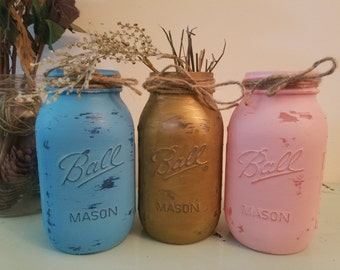 Distressed Gold, Blue, and Pink Mason Jar, Painted Mason Jar, Wedding, Baby Shower