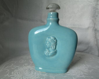 Vintage L'Orle Blue Porcelain Scent/Perfume Bottle with Cameo and Glass/Cork Stopper
