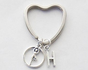 Yoga Lover Keychain, Yoga Lover Gift, Yoga Keyring, Namaste Keychain, Yogi Keychain, Tree Pose Keychain, Yoga Teacher Keychain, Yoga Gifts