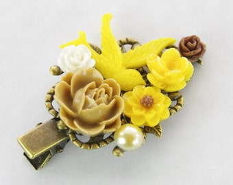Bird Hair Clip Yellow Flower Hair Fascinator Yellow Flower Clip Bird Hair Clip Flower Hair Pin Collage Bridal Party Unique Flower Girl Gift