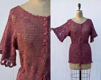 VINTAGE 1970s Diamond Crochet Dusty Pink Blouse | Open Weave Boho Knit Tunic | Hippie Festival Sheer Top | Hand Knit Crochet Lace Sweater