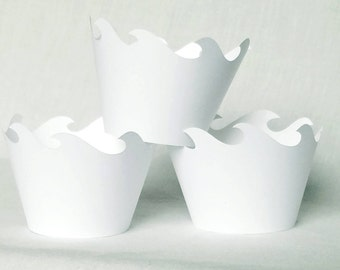 12 Count white wave cupcake wrappers wedding cupcake wrappers white scallop