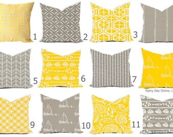 Outdoor Pillow Pillows or Indoor Custom Cover - Yellow Citrus Gray Oyster White Nautical Modern Geometric Tribal 18x18, 16x16