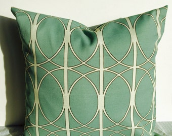 Outdoor Pillow READY TO ship or Indoor Pillow cover -  Spa Mineral Surf Blue Lattice Ivory