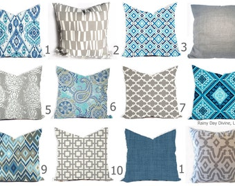 Outdoor Pillows or  Indoor Pillow Custom Cover - Shades of Blue, Royal Blue, Grey Gray White Ikat Lattice Modern All sizes