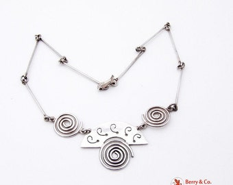 SaLe! sALe! Hand Made Abstract Spiral Necklace Sterling Silver Mexico