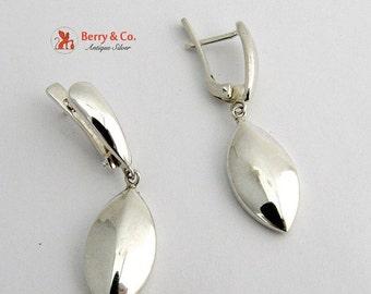 SaLe! sALe! Stylized Leaf Dangle Earrings Sterling Silver