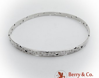 Hammered Bangle Bracelet Cutout Accents Sterling Silver