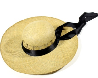 Vintage Wide Brim Straw Hat Handmade with Black Ribbon
