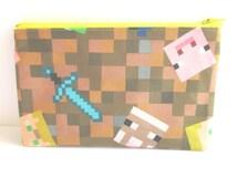 Minecraft Fabric Pencil Case // Minecraft Gift // Minecraft Birthday
