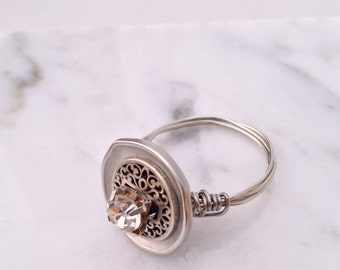 Handmade Silver Button Ring