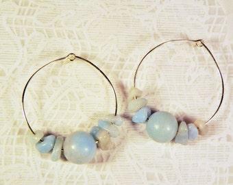 """Cynthia Lynn """"QUIET & STILL"""" Sea Foam Blue Green Amazonite Beaded Silver Hoop Earrings"""