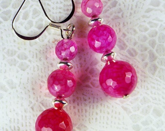 """Cynthia Lynn """"EXTREMELY PINK"""" Graduated Pink Tourmaline October Birthstone Silver Earrings"""