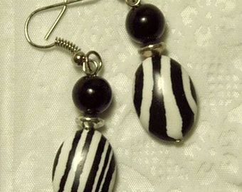 "Cynthia Lynn ""KENYA"" Black and White Zebra Animal Print Silver Earrings"