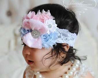 Lt Pink Headband/Shabby Chic Headband/Infant Headband/Baby Headband/Newborn Headband/Toddler Headband/Girls Headband/Baby Girl Headband