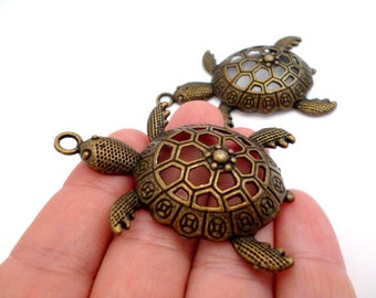 Solid Large Brass Turtle Charm pendant_PA11247785BG_Charms_ Large Brass Turtle_pack  3pcs