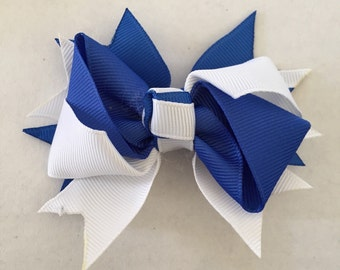 Blue and White Hair Bow on Hair Clip 3 1/2""