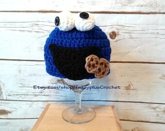 Cookie monster hat. Cookie monster beanie. Crochet Cookie monster hat. Crochet Cookie monster beanie. Handmade Cookie monster hat.