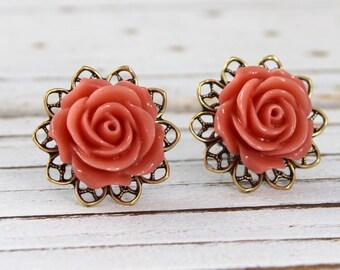Ginger Spice Rose - vintage style antique brass rose post earrings - Secret Garden Collection