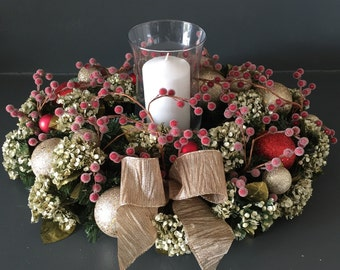 Floral Centerpiece, Christmas Centerpiece, Table Centerpiece With Candle, Holiday Centerpiece, Floral Candle Centerpiece, Christmas Decor