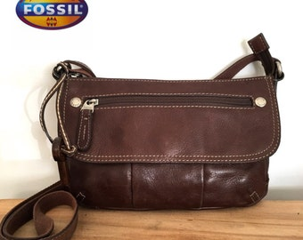 Fossil crossbody brown chocolate leather bag
