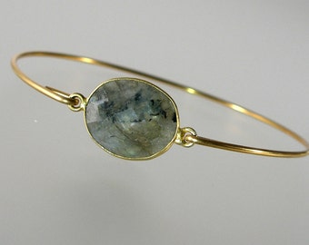 Labradorite Gemstone Bangle Bracelet, Grey Bangle, Gemstone Bangle, Gold Bracelet (Gm285G)