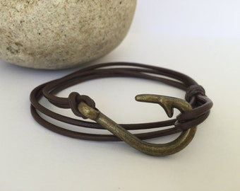 Chocolate Double Strand Leather Bracelet with a Fish Hook Clasp, Leather Bangle, Brass Clasp and Chocolate Leather, Men's Leather Bracelet