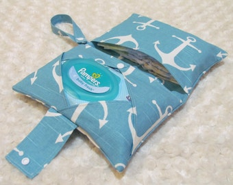 SALE! Ocean Anchors Diaper and Baby Wipe Clutch for Huggies, Pampers Wipes