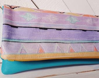 Foldover Clutch/Retro Clutch/80s/Turquoise Clutch/Leather Clutch/Yellow Clutch/Leather Bag/Aztec Print Clutch/Tribal Print/Evening Bag