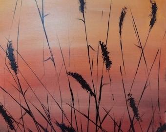 Sunset landscape original acrylic painting on canvas 2