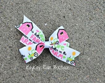 Life Is Better On The Farm Hair Bow - Tractor Hair Bow - 3 Inch Hair Bow - Girls Hair Bow - Farm Life Bow - Farm Hair Bow - Farm - Tractor