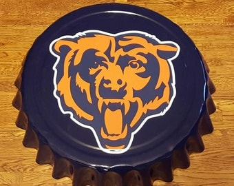"Chicago Bears NFL Football Giant 16"" Bottle Cap Wall Hanging for Man Cave Soldier Field Windy City Sports Bar Craft Beer"