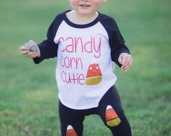 Girls Halloween Outfit, Girls Halloween Shirt, Candy Corn Cutie, halloween girls Shirt, Baby Girl, Candy Corn, Halloween Shirt for Girls