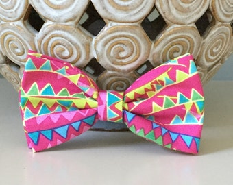 Dog Bow / Bow Tie - Banner Pattern - Pinks Blues Greens Yellows