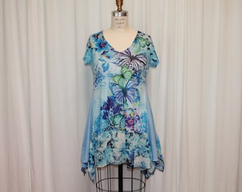 Blue Boho top Shabby chic dress Summer tunic Upcycled clothes Butterfly blouse Embellished top Bohemian top Romantic clothes Eco fashion M-L