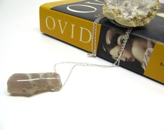 Rivendell Relic: lightly polished limb-cast agate on a sterling silver chain